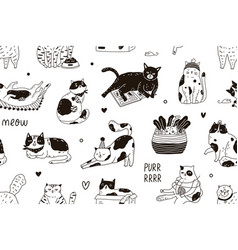 seamless pattern with meow inscription and cute vector image