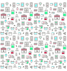 seamless pattern with online shopping icons vector image