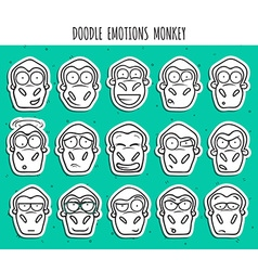 Set 15 doodle sticker heads of monkeys with vector image