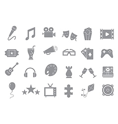 Set entertainment gray icons vector