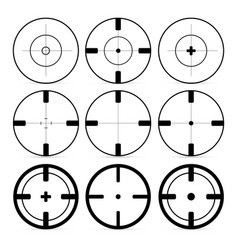 set of 9 targets icons in flat style crosshair set vector image
