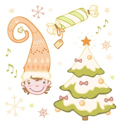 Set of christmas dwarf in the bell christmas tree vector