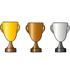 set of cups for winners reward and trophy vector image