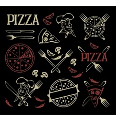 Set of pizza icons and design elements vector image