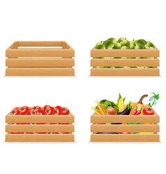 set wooden box with fresh and healthy vegetables vector image vector image