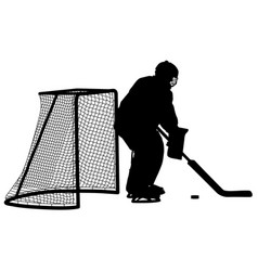 Silhouette of hockey goalkeeper isolated on white vector