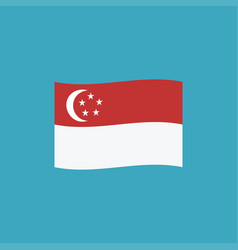 singapore flag icon in flat design vector image