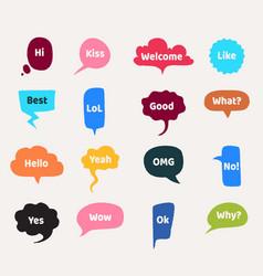 speech bubbles cartoon talk cloud with text vector image