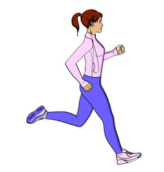 sport girl jogging object on white background vector image