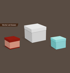 Square empty boxes for gifts on a dark background vector