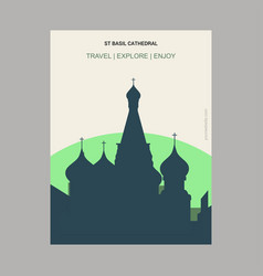 St basil cathedral moscow russia vintage style vector