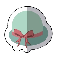Sticker lace bowler hat with bow retro design vector