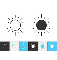 Sun simple black line icon vector