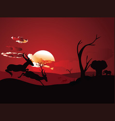 Sunset landscape with antelopes vector