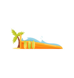 Surfing wave pool surfboards and palm tree vector