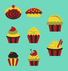 Sweets set cupcakes icons vector