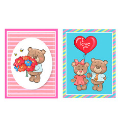 Teddy bears with bouquet flowers cartoon balloon vector