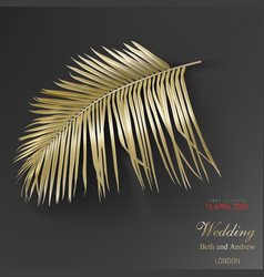 tropical golden palm leaves on black background vector image