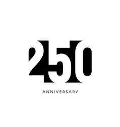 two hundred fifty anniversary minimalistic logo vector image