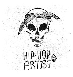 urban street hip hop gangsta rapper skull in vector image
