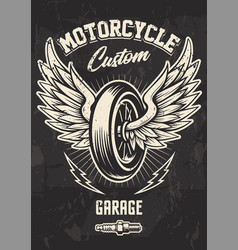 Vintage biker design with winged wheel vector