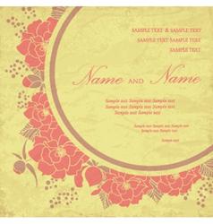 Vintage wedding invitation with flowers vector