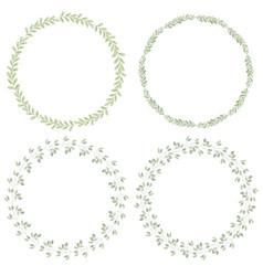 watercolor minimal leafs wreath collection vector image