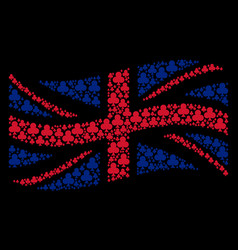 Waving british flag collage of clubs suit icons vector