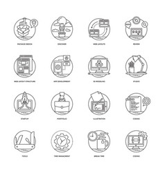Web and mobile app development line icons 3 vector