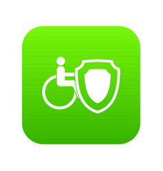 Wheelchair and safety shield icon digital green vector