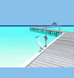 Wooden pier at tropical resort vector