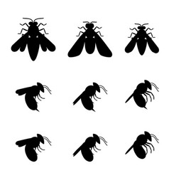 Bee icons in silhouette top and side view vector