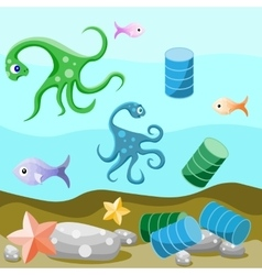 Deep-sea life and pollution of the environment vector image vector image
