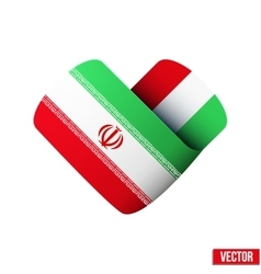 Flag icon in the form of heart I love Iran vector image