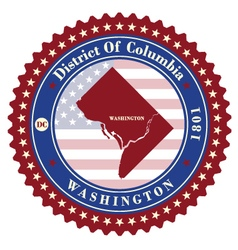Label sticker cards of District of Columbia USA vector image vector image