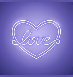love heart purple neon banner vector image vector image