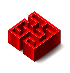 red labyrinth isolated on white vector image