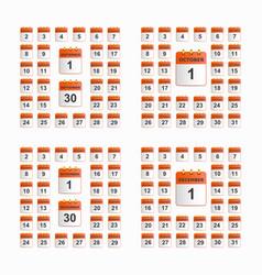 set of wall calendar vector image