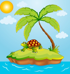 south island with palm and terrapin vector image vector image