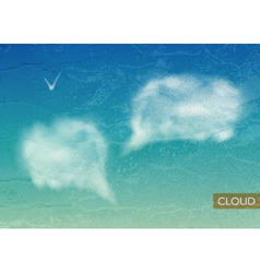Vintage Sky background with Clouds speech bubbles vector image