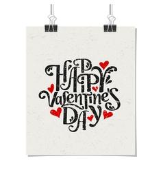 Vintage typographic Valentines Day design poster vector image vector image
