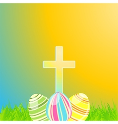 Easter eggs and cross vector image