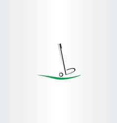 Golf ball logo putter icon vector