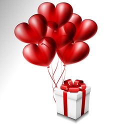 Heart balloon set with gift box vector image