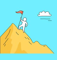 man climbing high mountain on vector image