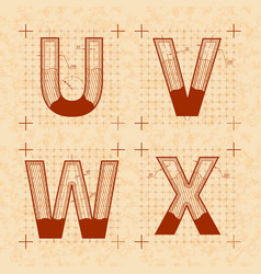 medieval inventor sketches of u v w x letters vector image