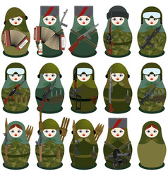 military nesting dolls vector image vector image