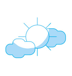 Silhouette sun with clouds to natural weather vector