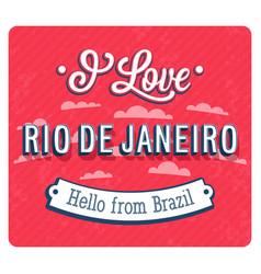 vintage greeting card from rio de janeiro vector image