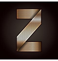 Letter metal gold ribbon - z vector